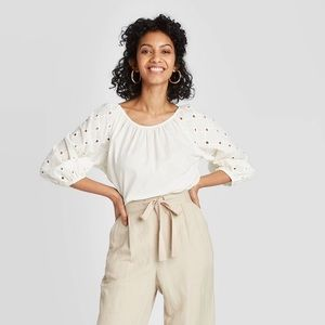 A New Day Cream Eyelet Peasant Top